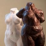 plaster sculptures of female torsos