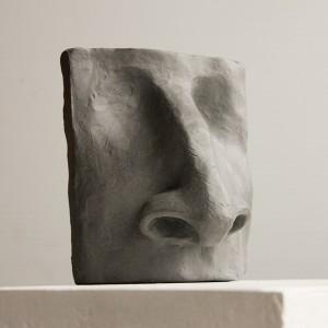 clay figurative sculpture - nose study