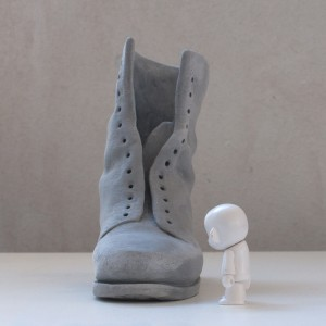 vancouver sculpture studio old boot sculpted in clay